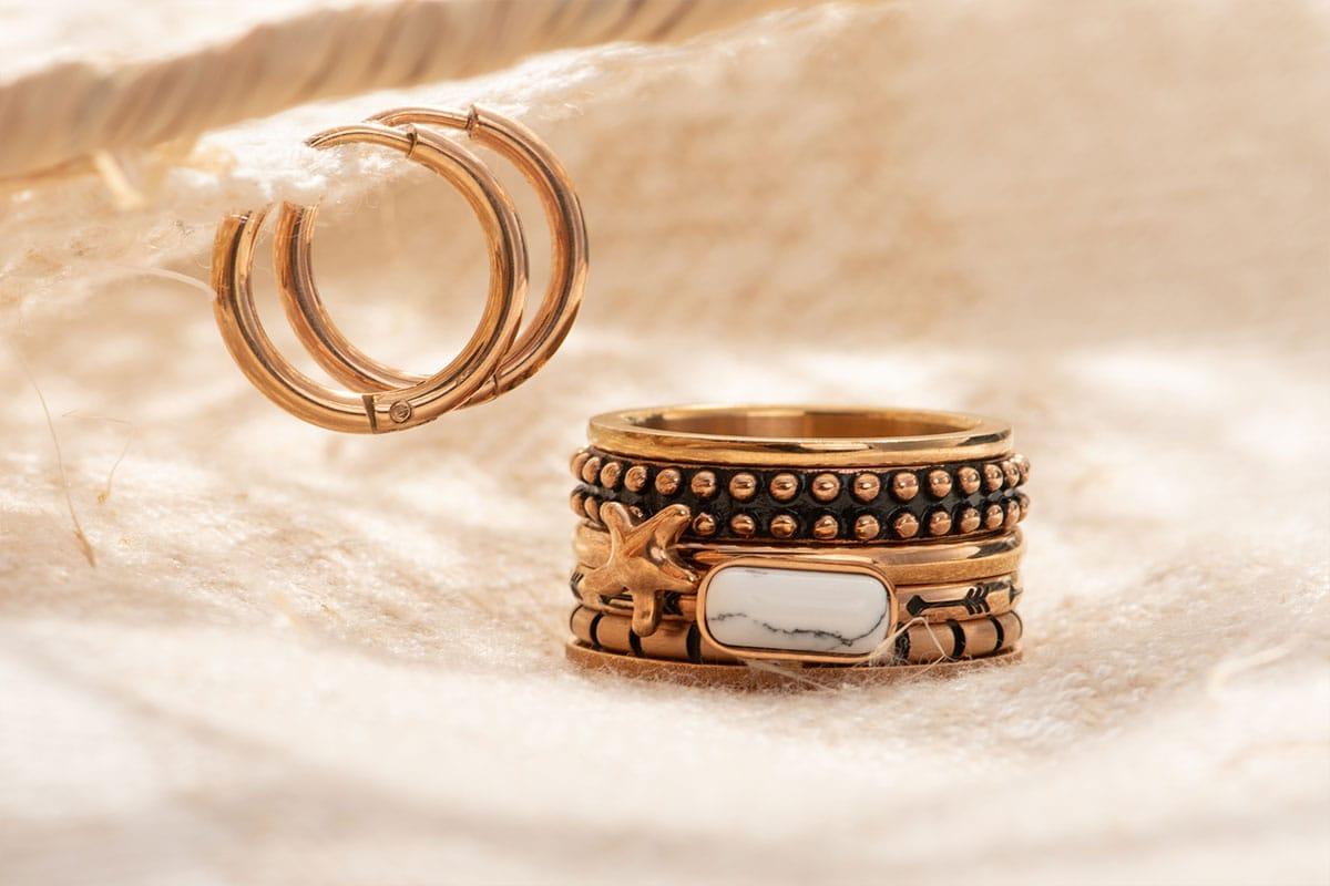 Bohemian Paradise - rose gold ring combination