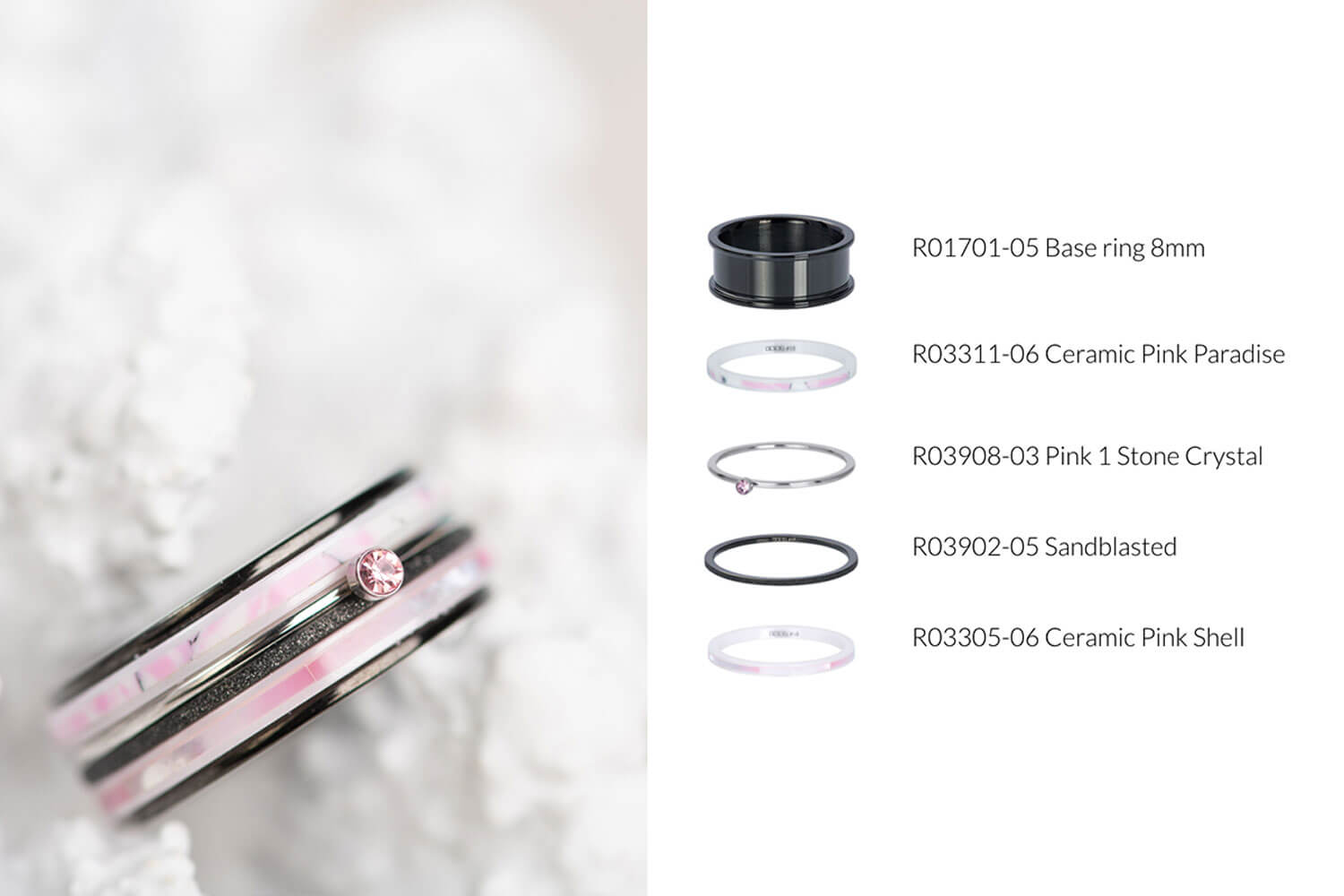 Think Pink - black iXXXi JEWELRY ring combination with pink fillrings