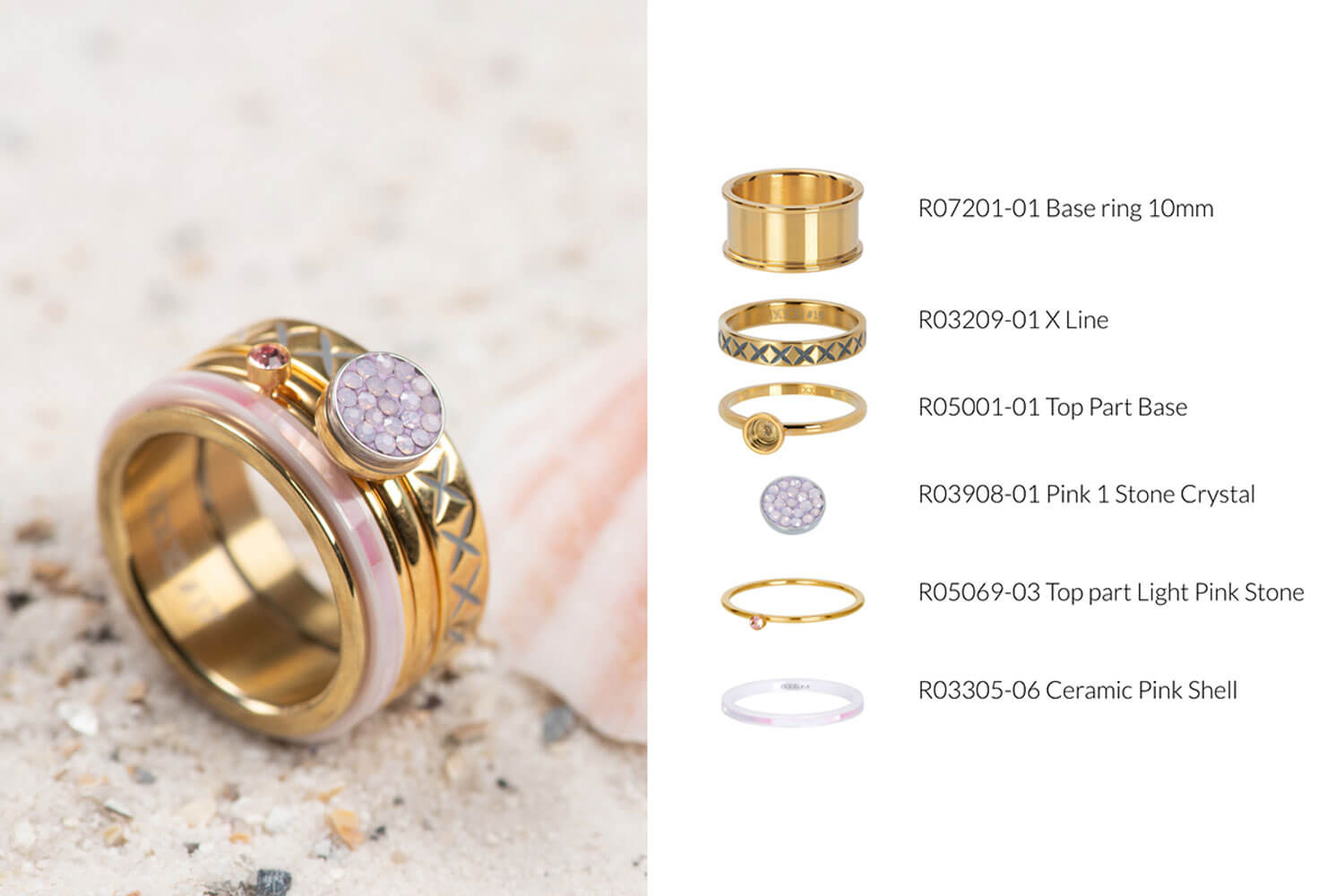 Think Pink - gold ring combination iXXXi JEWELRY with pink fillrings
