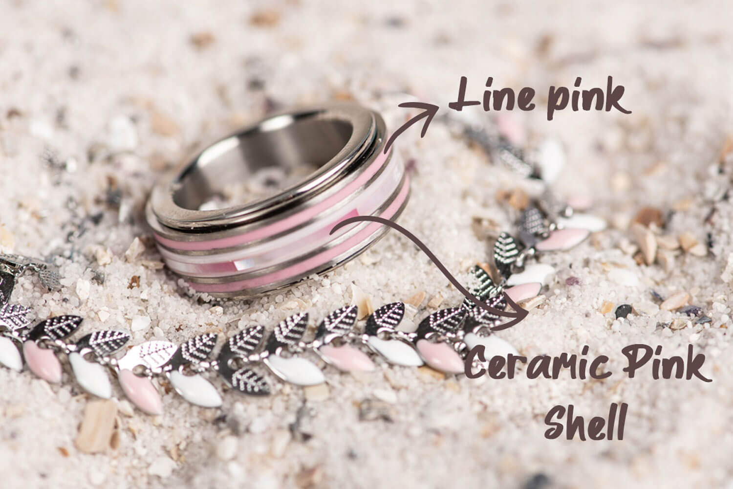 Think Pink - iXXXi JEWELRY silver ring combination with pink fillrings
